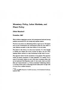 Monetary Policy, Labor Markets, and Fiscal Policy