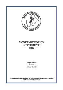 MONETARY POLICY STATEMENT 2012