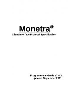 Monetra. Client Interface Protocol Specification