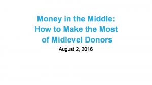 Money in the Middle: How to Make the Most of Midlevel Donors. August 2, 2016