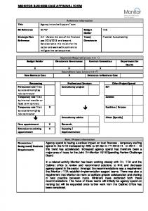 MONITOR BUSINESS CASE APPROVAL FORM