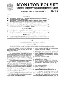 MONITOR POLSKI DZIENNIK URZ~DOWY RZECZYPOSPOLITEJ POLSKIEJ