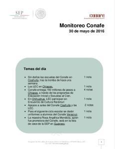 Monitoreo Conafe 30 de mayo de 2016