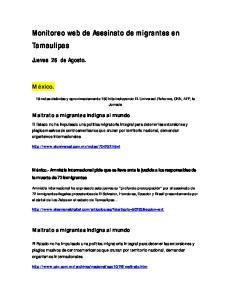 Monitoreo web de Asesinato de migrantes en Tamaulipas