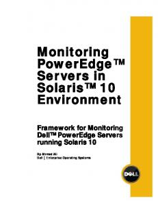 Monitoring PowerEdge Servers in Solaris 10 Environment