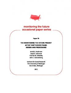 monitoring the future occasional paper series