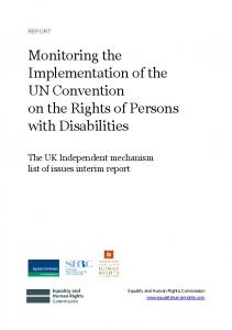 Monitoring the Implementation of the UN Convention on the Rights of Persons with Disabilities