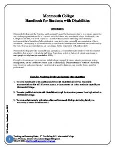 Monmouth College Handbook for Students with Disabilities