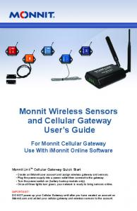 Monnit Wireless Sensors and Cellular Gateway User s Guide