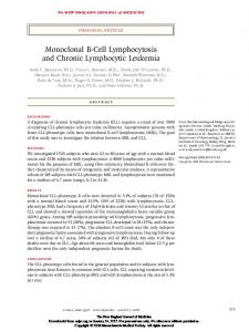 Monoclonal B-Cell Lymphocytosis and Chronic Lymphocytic Leukemia