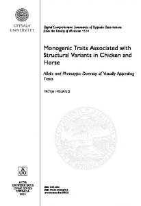 Monogenic Traits Associated with Structural Variants in Chicken and Horse