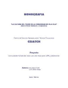 MONOGRAFIA LA CULTURA DEL TEJIDO EN LA COMUNIDAD DE VILA VILA (MUNICIPIO DE TARABUCO CHUQUISACA)