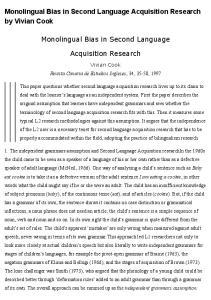 Monolingual Bias in Second Language Acquisition Research by Vivian Cook. Monolingual Bias in Second Language. Acquisition Research