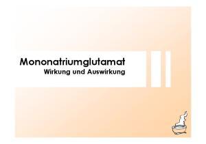 Mononatriumglutamat Wirkung und Auswirkung
