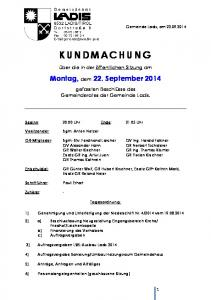 Montag, dem 22. September 2014