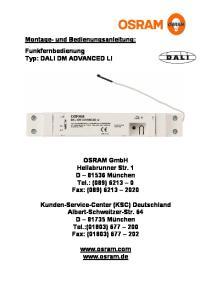Montage- und Bedienungsanleitung: Funkfernbedienung Typ: DALI DM ADVANCED LI