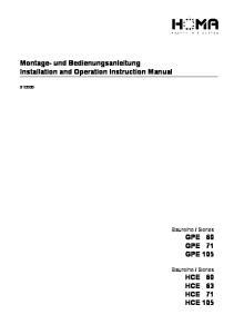 Montage- und Bedienungsanleitung Installation and Operation Instruction Manual