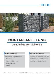 MONTAGEANLEITUNG BEON. zum Aufbau von Gabionen. Korrekte Positionierung der Abstandshalter