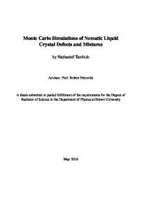 Monte Carlo Simulations of Nematic Liquid Crystal Defects and Mixtures