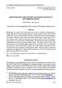 MONTENEGRIN AGRICULTURE: DIAGNOSIS AND POLICY RECOMMENDATIONS
