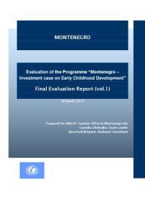 MONTENEGRO. Final Evaluation Report (vol.1)