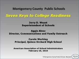 Montgomery County Public Schools Seven Keys to College Readiness