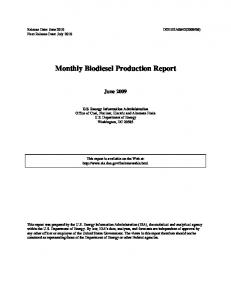 Monthly Biodiesel Production Report