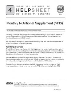 Monthly Nutritional Supplement (MNS)