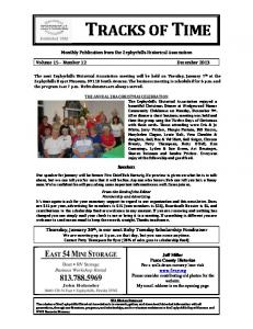 Monthly Publication from the Zephyrhills Historical Association. Volume 15 Number 12 December Speakers