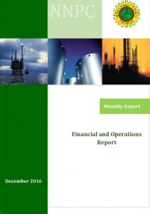 Monthly Report. Financial and Operations Report. December 2016