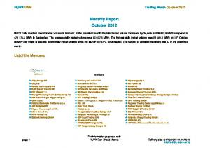 Monthly Report October 2012