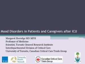 Mood Disorders in Patients and Caregivers after ICU