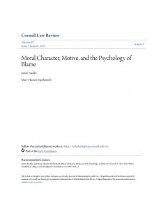 Moral Character, Motive, and the Psychology of Blame