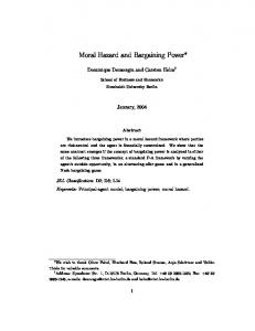 Moral Hazard and Bargaining Power