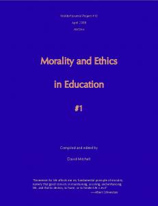 Morality and Ethics. in Education