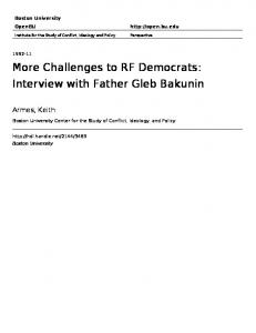 More Challenges to RF Democrats: Interview with Father Gleb Bakunin