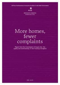 More homes, fewer complaints