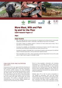 More Meat, Milk and Fish by and for the Poor