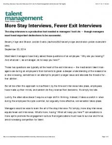 More Stay Interviews, Fewer Exit Interviews