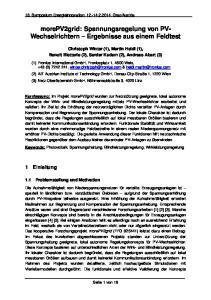 morepv2grid: Spannungsregelung von PV- Wechselrichtern Ergebnisse aus einem Feldtest