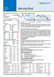Morning Brief. Indonesian Market Daily. Indonesia Economic Data