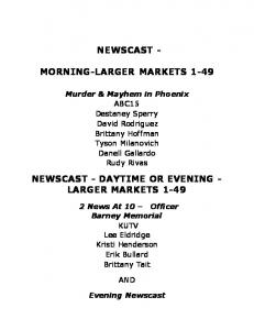 MORNING-LARGER MARKETS 1-49 NEWSCAST - DAYTIME OR EVENING - LARGER MARKETS 1-49