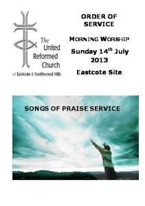 MORNING WORSHIP SONGS OF PRAISE SERVICE