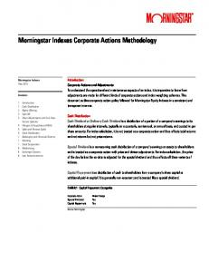 Morningstar Indexes Corporate Actions Methodology