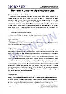 Mornsun Converter Application notes