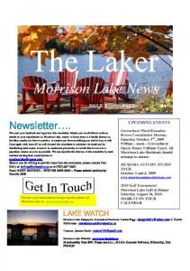 Morrison Lake News ISSUE 3 FALL 2009 UPCOMING EVENTS