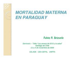 MORTALIDAD MATERNA EN PARAGUAY