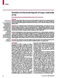 Mortality in the Democratic Republic of Congo: a nationwide survey