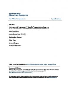 Morton Dauwen Zabel Correspondence