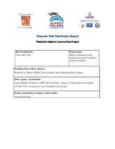 Mosquito Nets Distribution Report